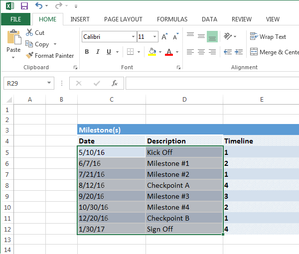 Excel Copied Data