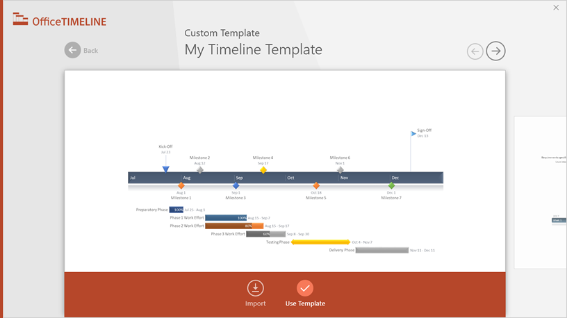 Office timeline excel timeline how to for this demonstration i will choose a custom template if you prefer to import and sync your excel table rather than copy paste click on the import toneelgroepblik Images