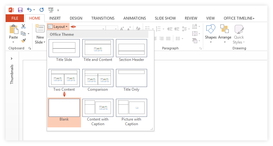 Select blank slide layout in PowerPoint