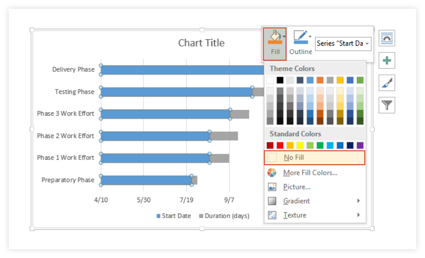 Turn Stacked Bar Chart into Gantt