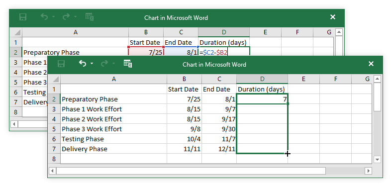 Calculate Task Duration in MS Word