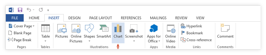 Chart button in Word