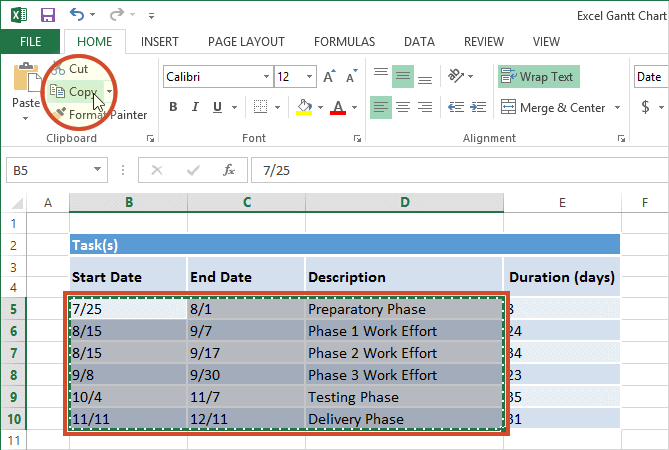 Excel Gantt chart tasks data