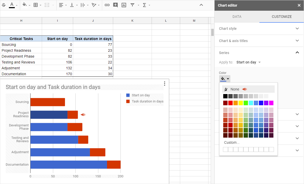 Office timeline gantt charts in google docs google docs project management step 9 make your gantt chart ccuart Choice Image