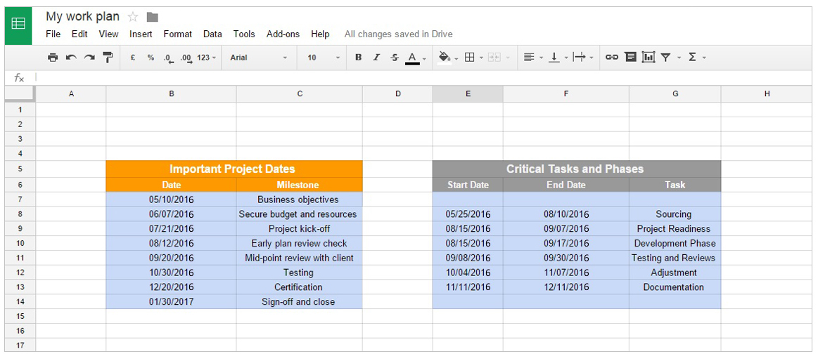 Google Docs Project Management