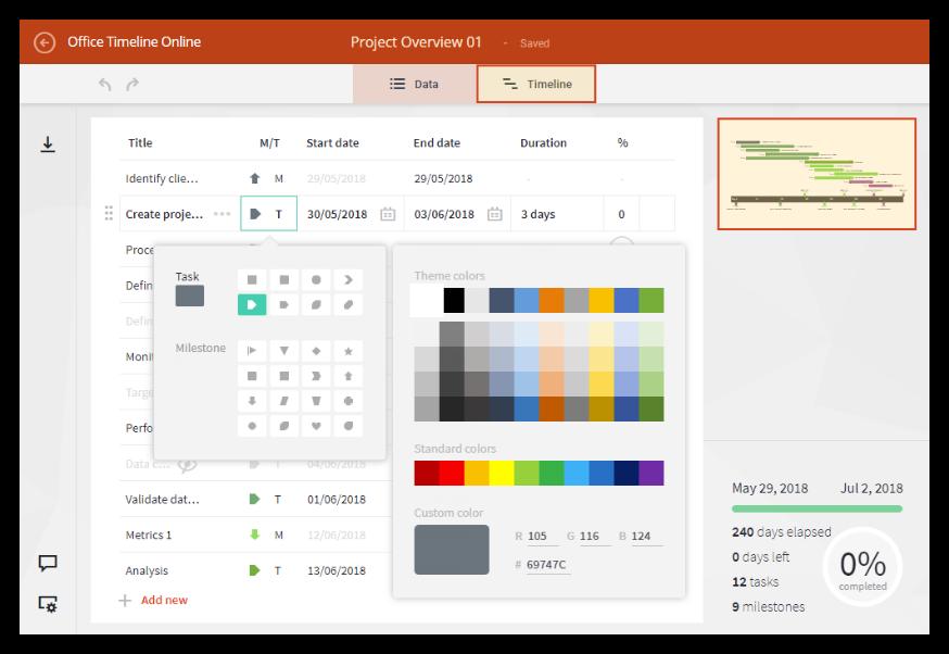 Insert data in the online Gantt chart tool