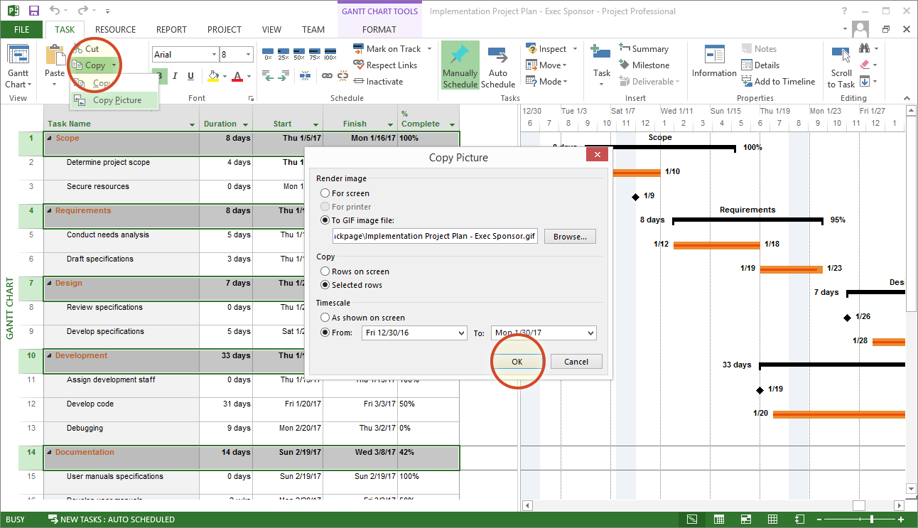 Microsoft Project Tutorial Copy Picture Tool