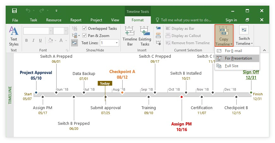 how to make a timeline in microsoft project