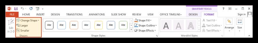 SmartArt Tools Format Tab
