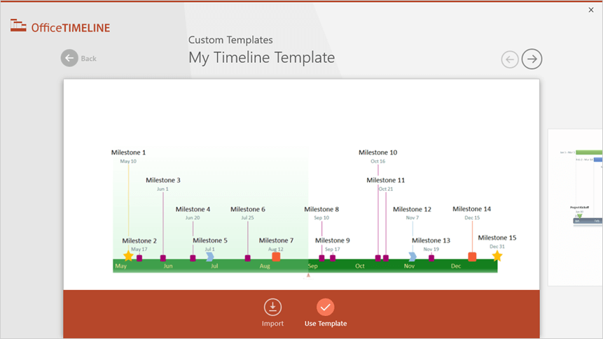 How to make a timeline in word use template in the preview window to open the data entry wizard for my example i chose a custom template made earlier which you can download here maxwellsz