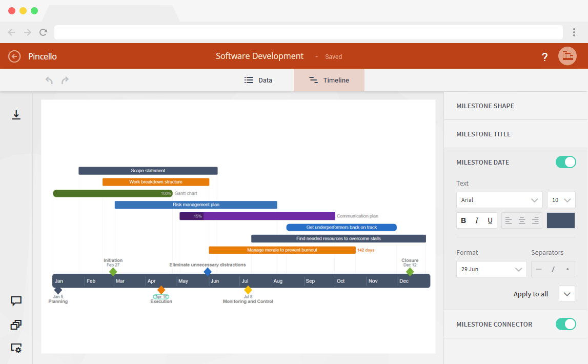 Office timeline free timeline makers that save you hours of work office timeline and pincello easily produce impressive familiar graphics that expensive and complex project tools cannot with the timeline builders nvjuhfo Images
