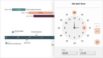 create hours and minutes timelines