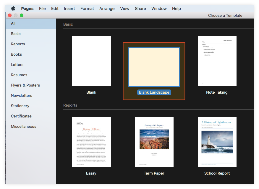 Select Blank Landscape Template in Pages