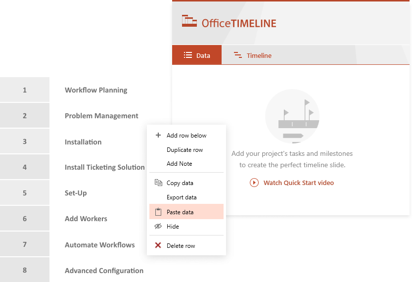 Copy & paste from Excel into Office Timeline