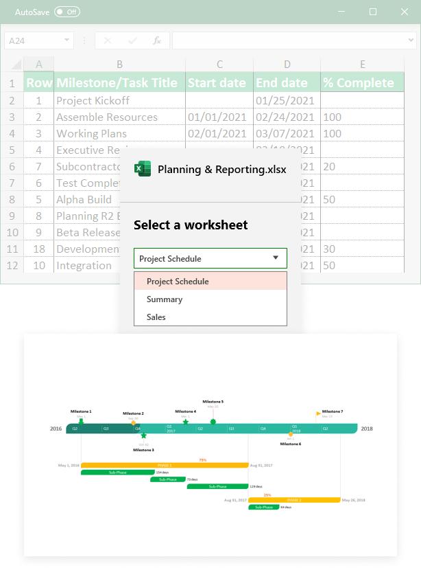Import & sync from Excel into Office Timeline