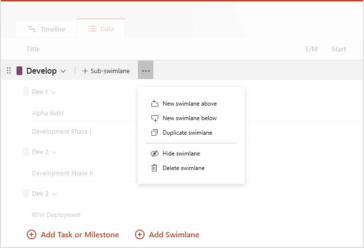 Modification facile des couloirs dans Office Timeline Pro+