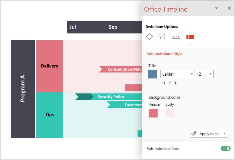 Personnalisez votre frise chronologique avec Office Timeline Pro+