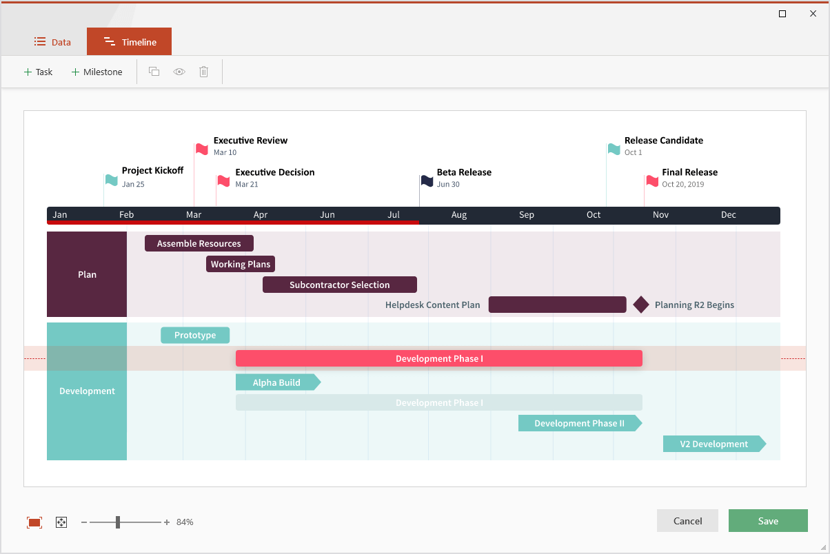 Drag & drop editor in Office Timeline