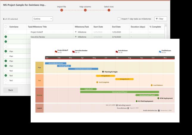 Importez de Microsoft Project dans Office Timeline
