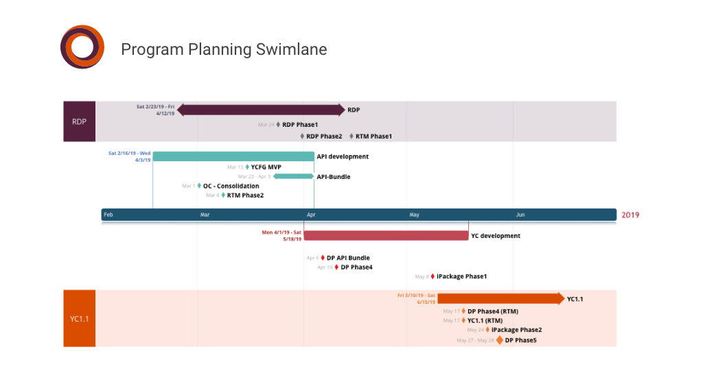 Program Planning Timeline with Swimlanes