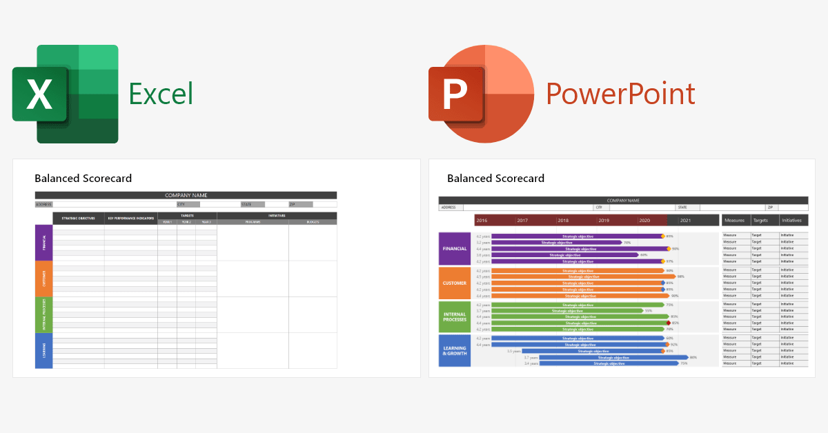 Scorecard Excel PowerPoint Templates