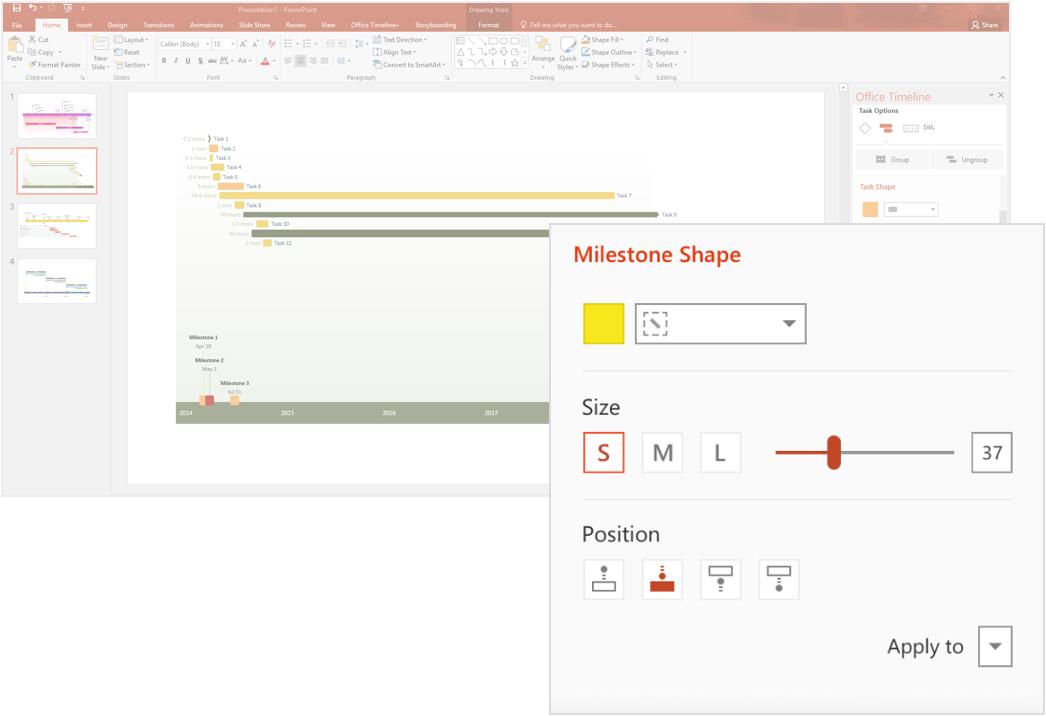 PowerPoint tijdlijn tool