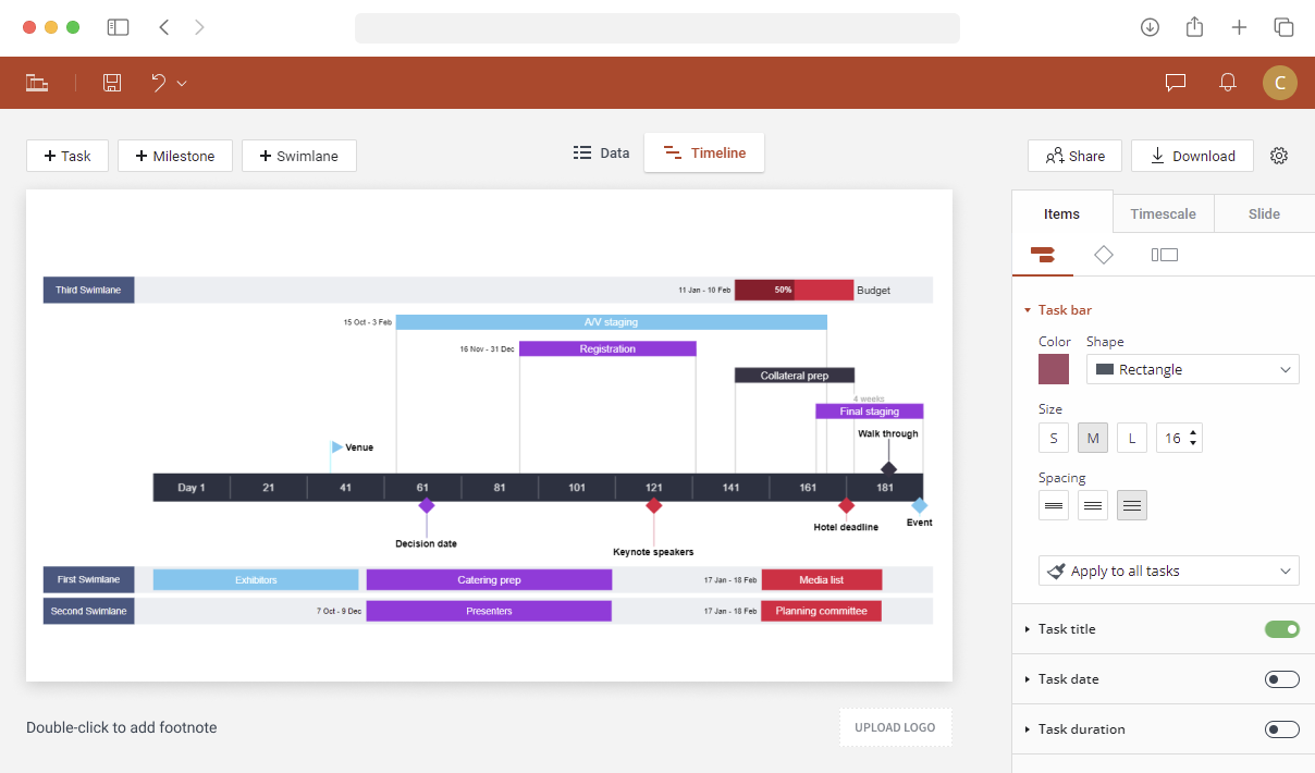 Online timeline maker with PowerPoint integration