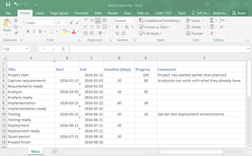 Project Plan in Excel