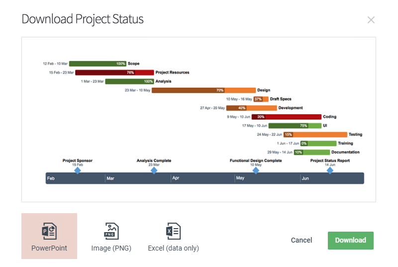 Export your online timeline as PPT, PNG or XLS