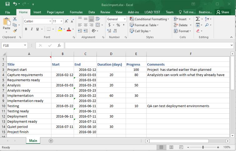 Projektdaten in Excel