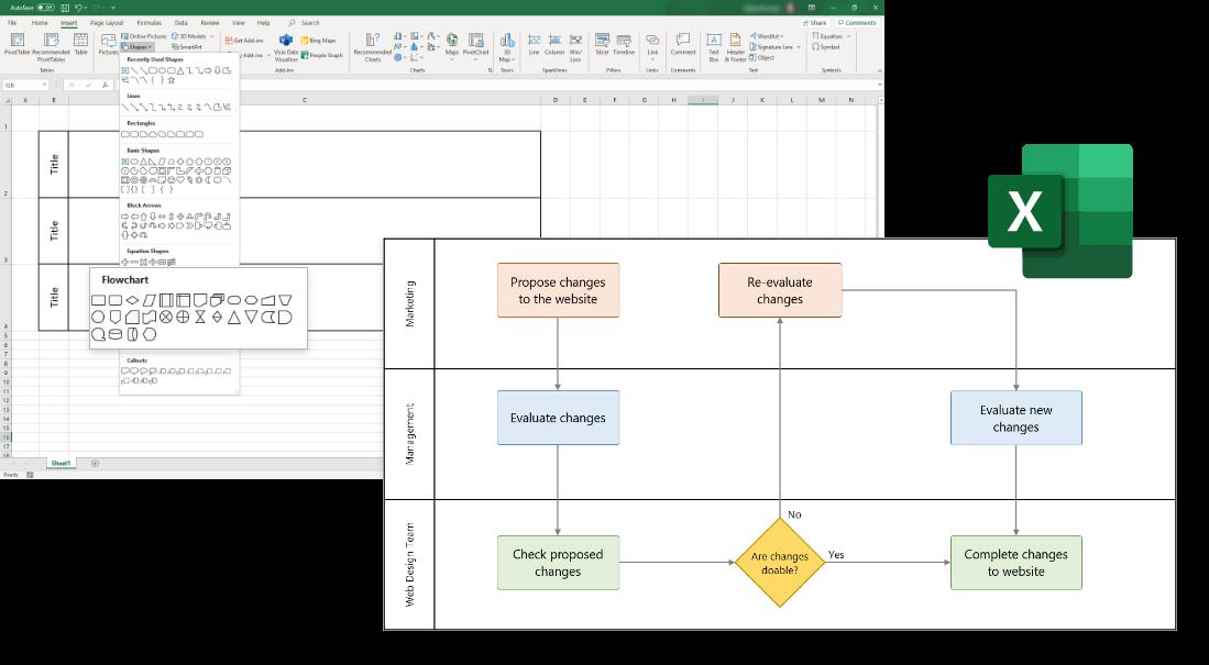 Swimlane Diagram tutorial for Excel